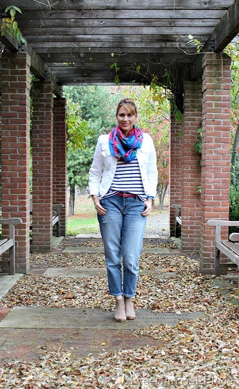 boyfriend-jeans-white-denim-jacket-striped-shirt-floral-scarf-1