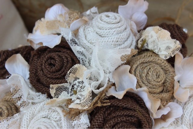 vintage burlap and lace wedding flowers
