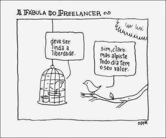 liberdade e dependência cartoon de Odyr Berrnardi