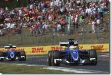 Le due Sauber nel gran premio d'Ungheria 2015