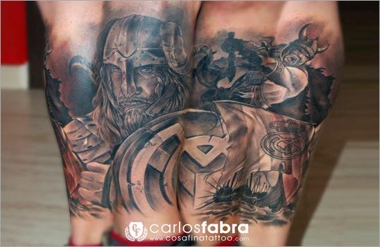 tatuaje real madrid vikingo barco escudo tattoo viking rmcf cosafina cosa fina carlos fabra