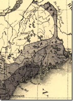 Detail of Maine from Francis A. Walker's 1870 population density map of the United States.