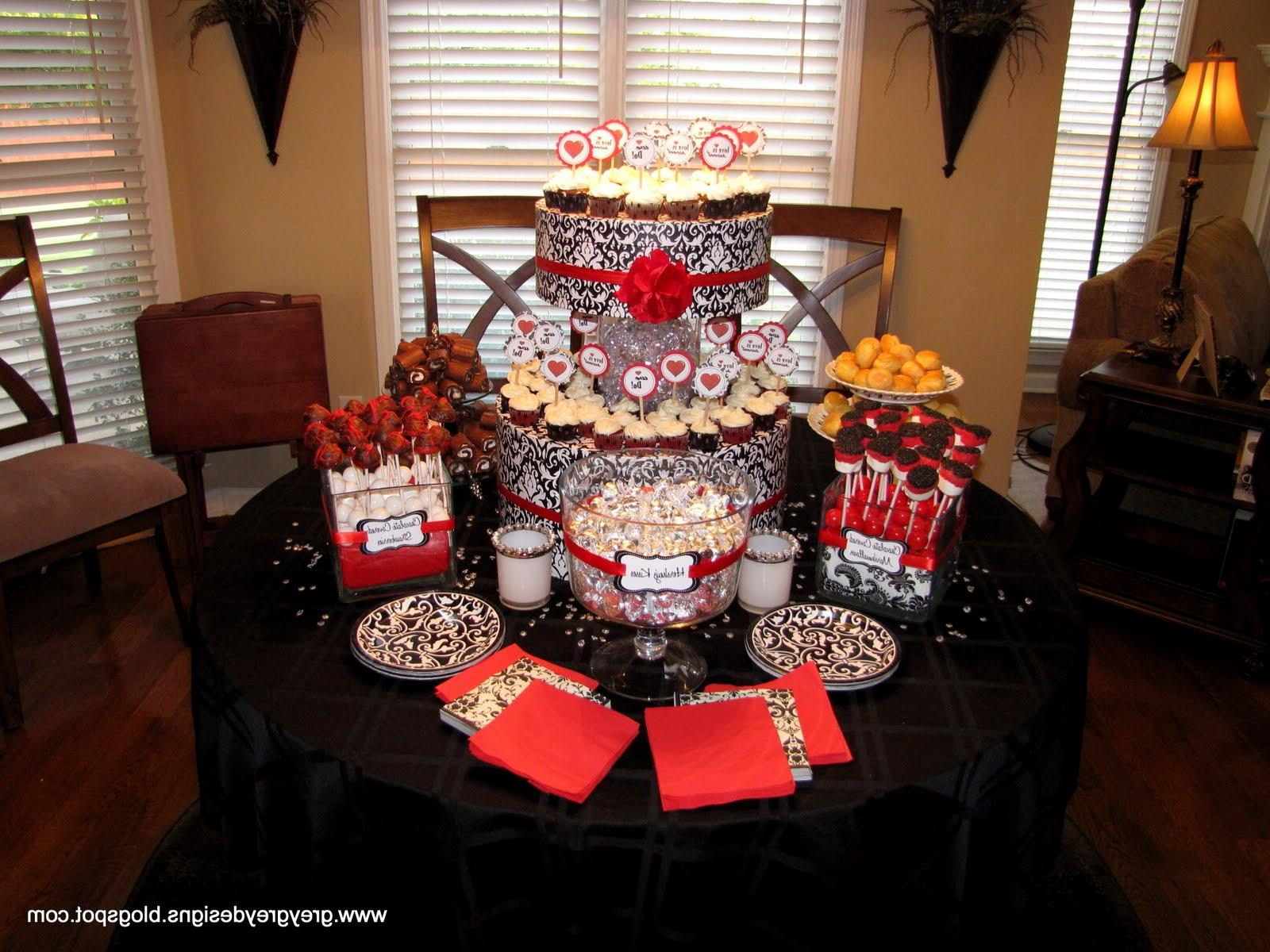 Red and black and white damask