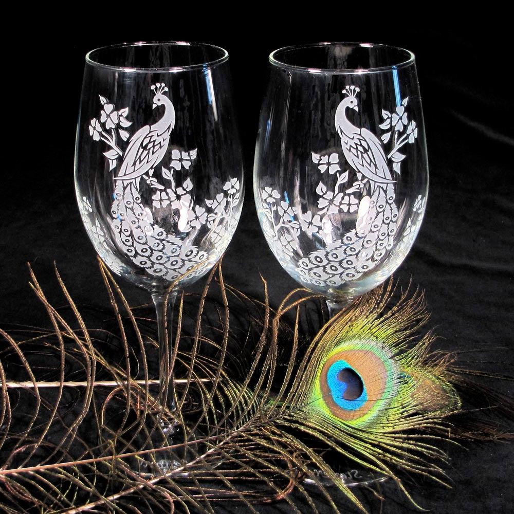 4 Peacock Wedding Wine Glasses