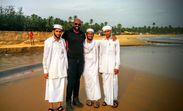 With locals at Bekal Beach, Kerala