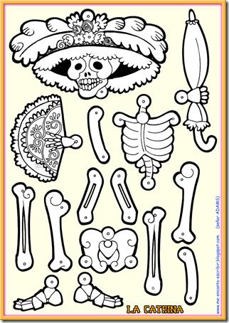 Catrina para colorear, recortar y montar La Catrina para el día de los muertos, esqueleto articulado. manualidades para día de muertos para niños.