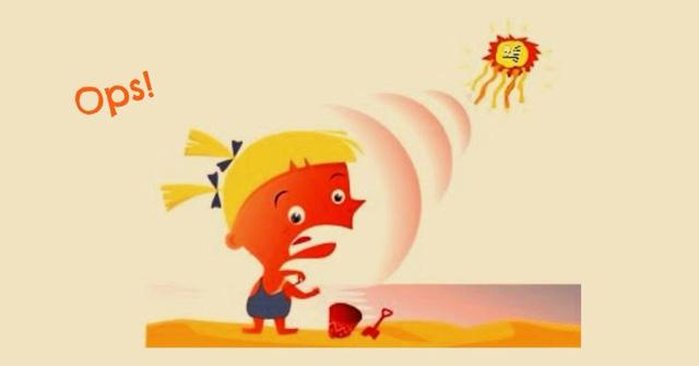 bambina che si scotta sotto il sole