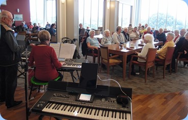 Some views of the Northbridge Village lounge and residents enjoying the music. Whilst Diane Lyons entertained.