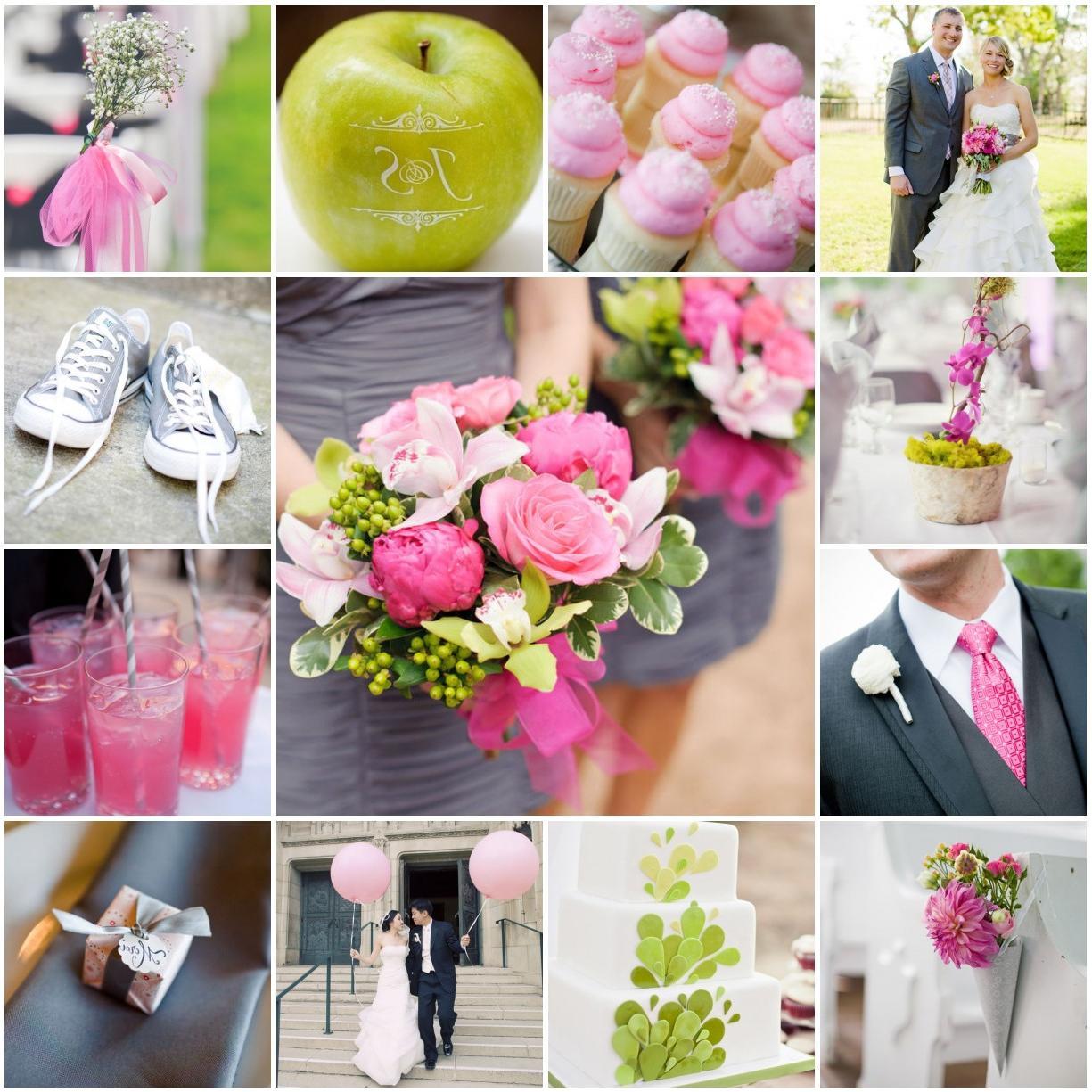 pink yellow gray wedding
