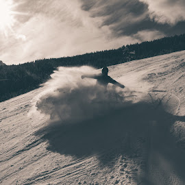 huuush by Goran Gašparac - Sports & Fitness Snow Sports ( skiing, black and white, sunspot, white, powder, sport, skii, sun, winter, vacation, slope, snow, fast, breaking, black )
