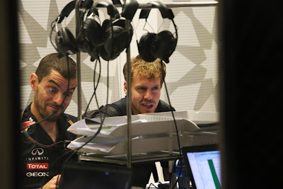 Гийом Роклен и Себастьян Феттель на Гран-при Абу-Даби 2012