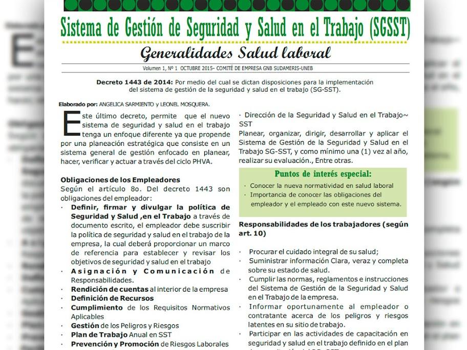 Generalidades Salud laboral GNB Sudameris Nº1 octubre 2015