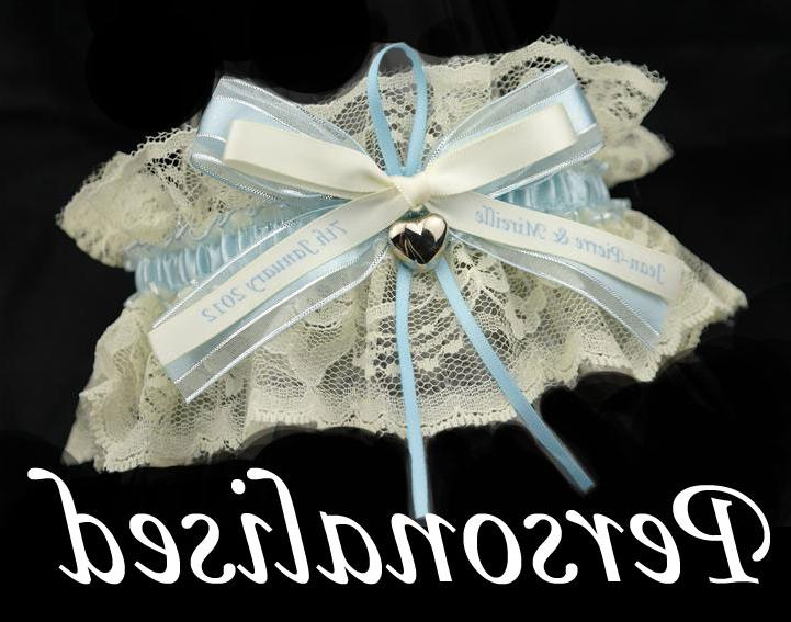 This Garter is Ivory and Blue. Personalised ivory blue garter