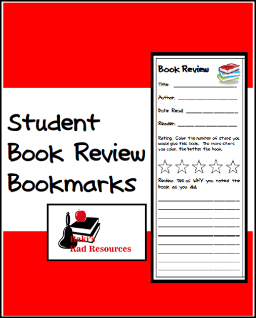 Free download - student book review bookmark, works on any book for any level. Great way to get kids to make judgements about what they read. Free download from Raki's Rad Resources