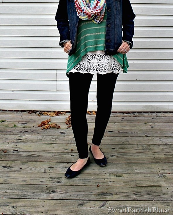 black-leggings-denim-jacket-green-striped-tank-lace-extender-scarf4
