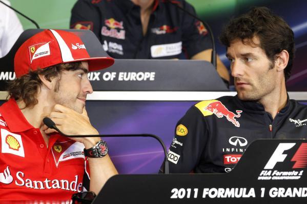 Фернандо Алонсо и Марк Уэббер на пресс-конференции Гран-при Европы 2011 в Валенсии