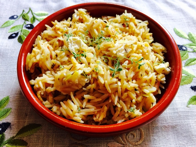 Lemon rice and orzo pilaf with feta and herbs