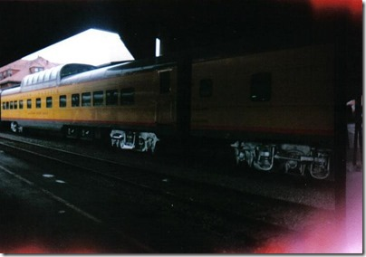 Union Pacific Dome Dining Car #7011 Missouri River Eagle at Union Station in Portland, Oregon on September 26, 1995