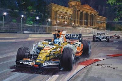Фернандо Алонсо лидирует в гонке за Renault на Гран-при Сингапура 2008 - картина Michael Turner