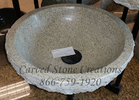 D16.5xH6 Golden Sesame Granite Rock-Face Vessel Sink Polished Interior