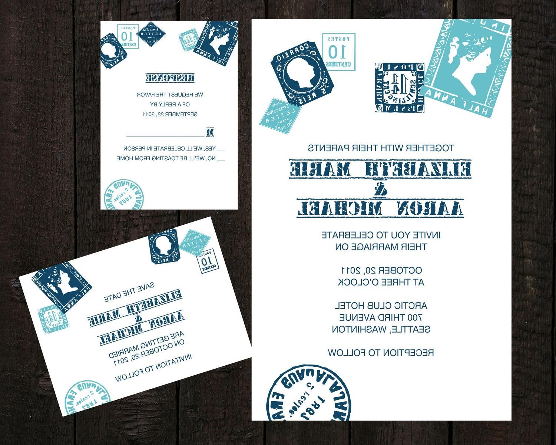 Vintage Stamps - Wedding Invitation Suite - Set of 50