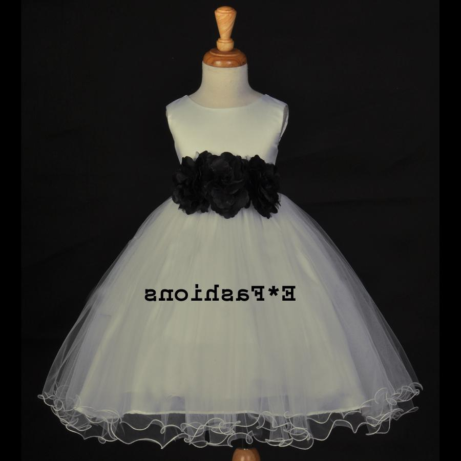 IVORY BLACK WEDDING PAGEANT BRIDAL HOLIDAY FLOWER GIRL DRESS 12M-18M 2 4 6 8