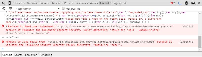 CSP errors when attempting to get HIBP to run the Harlem Shake script