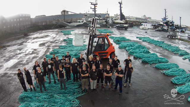 Aerial view of 72 km of illegal gill nets confiscated by Sea Shepherd ship the Sam Simon in the Southern Oceans during Operation Icefish, 5 May 2015. Photo: Sea Shepherd