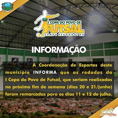 I COPA DO POVO DE FUTSAL - JOGOS - RODADA 2015 - INFORMAÇÃO