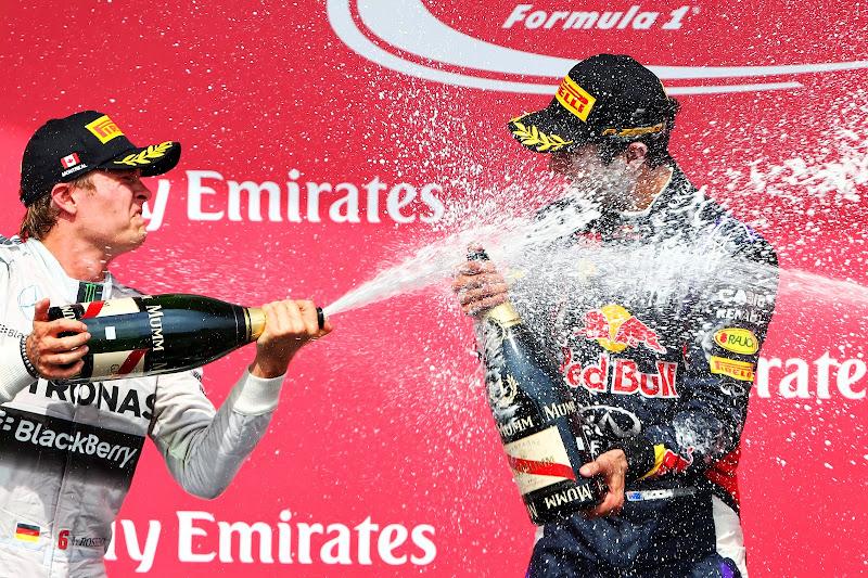 гневный Нико Росберг обливает шампанским Даниэля Риккардо на подиуме Гран-при Канады 2014