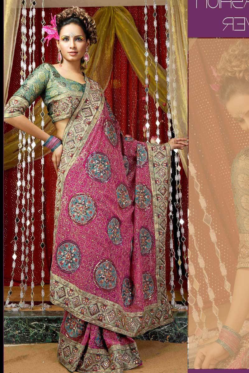 Pink and Aqua Blue Georgette Wedding Saree   213.00   181.05