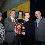 Guest Speaker Gerard Grant presents Niamh Boyle with her 6th Student of the Years Award at the Mulroy College Senior Prize Giving. Also included are Geraldine Boyle, Fiona Temple, Principal and James Boyle.   Photo:- Clive Wasson
