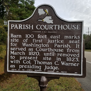 Barn 100 feet east marks site of first justice seat for Washington Parish. It served as Courthouse from March 1820, until removed to present site in 1823, with Col. Thomas C. Warner as presiding ...