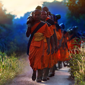 Buddhist monks. by Jeerasak Chaisongmuang - People Street & Candids
