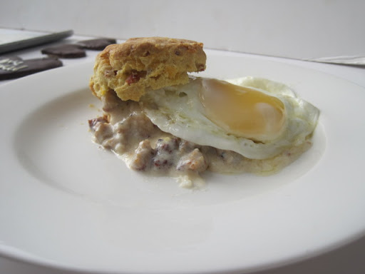 Bacon and Cheese Biscuits with Sausage Gravy and a Fried Egg: SCOTT HARGROVE