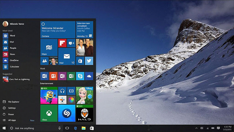 Screenshot of Windows 10, showing its desktop, taskbar and Start menu with Live Tiles