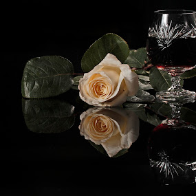 White Rose and Cognac by Cristobal Garciaferro Rubio - Food & Drink Alcohol & Drinks ( reflection, white rose, leavaes, glass cup, cognac, leaf, brandy )