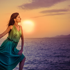 Anastasia sun by Ioannis Fine Art - People Fashion ( model, fashion, dress, sunset, woman, summer, people, sun, portrait )