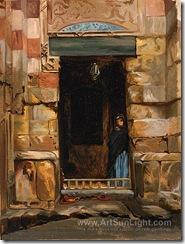 arab-woman-in-a-doorway-by-Jean-Leon-Gerome-257