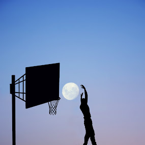 Slam Dunk by Adrian  Limani - Digital Art Places ( basketball, moon, silhouette, play, slamdunk, night, game )
