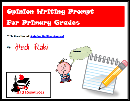 Free download - opinion writing prompt that takes you through the entire writing process. Download now from Raki's Rad Resources.