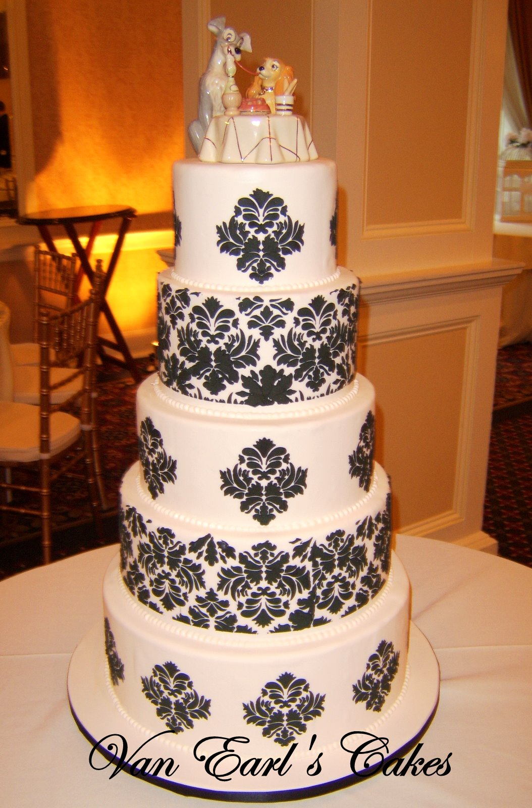 White Damask Wedding Cake