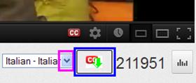 YouTube Caption Downloader pulsante sotto il player video di YouTube
