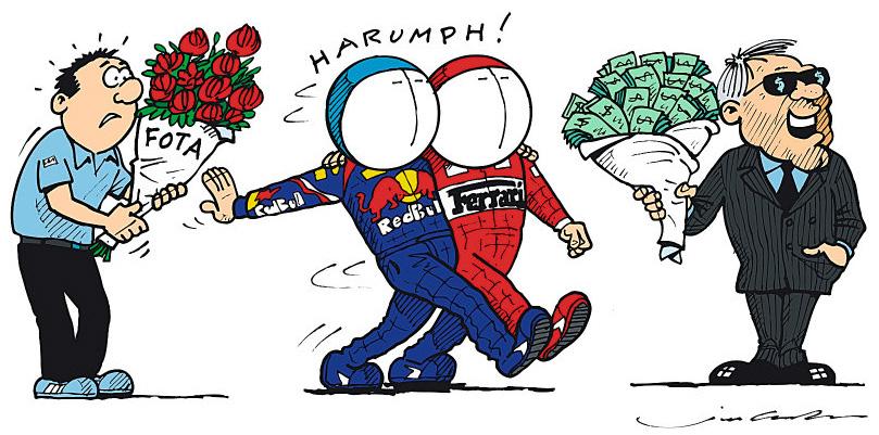 Red Bull и Ferrari покидают FOTA - комикс Jim Bamber