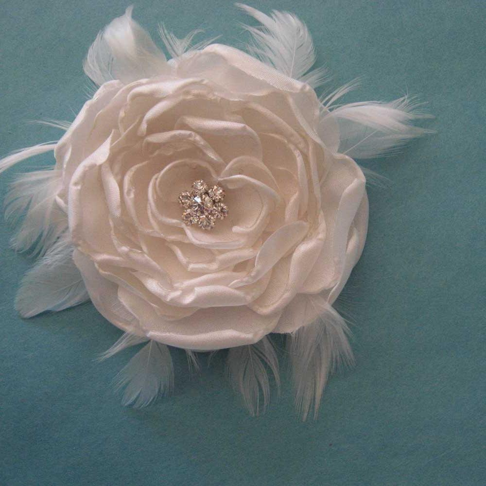 Ivory Satin Feather Rose Hair Clip H315- bridal wedding hair accessory