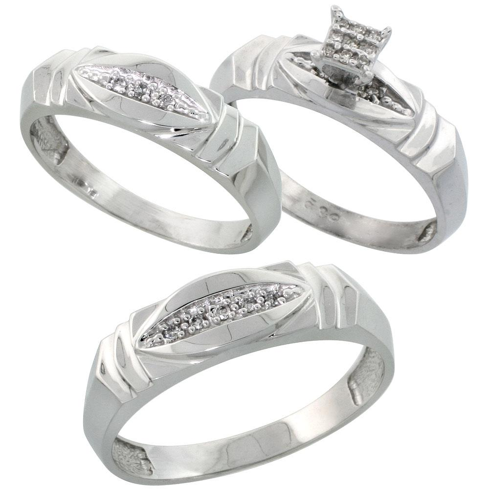 Sterling Silver 3-Piece Trio His  6mm  & Hers  5mm  Diamond Wedding Band Set
