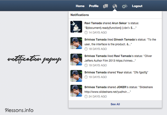 Facebook Style Notification Popup using CSS and Jquery.