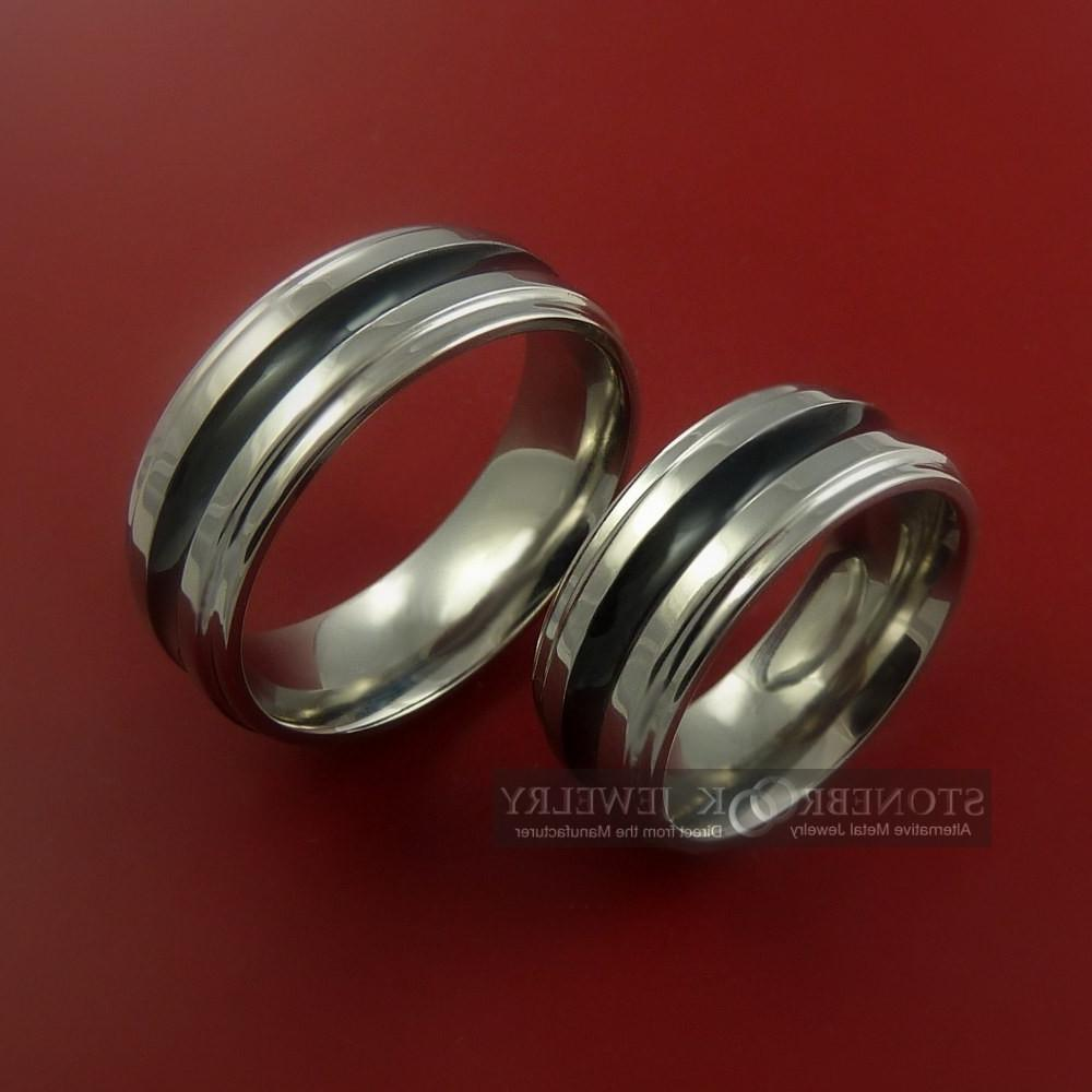 His and Hers Titanium Bands Custom Color Design Ring Set Any Size 3 to 22