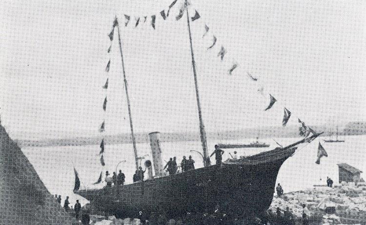 Botadura del MATILDE Y MARIA. Del libro El Astillero de San Martín.jpg