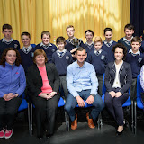 Sports Award Winners at the Mulroy College Junior Prize Giving with seated Tara Friel, Catherine McHugh, Shaun McFadden, Fiona Temple and Eibhlin Crampsie.  Photo:- Clive Wasson